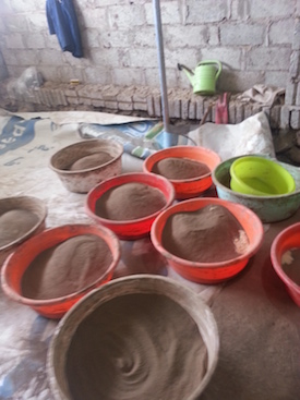 Bowls of clay before production