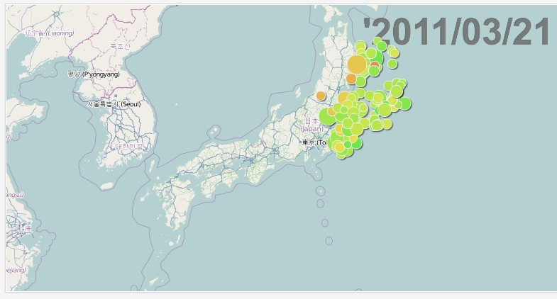 Using Trend Compass: The magnitude (radius) and depth (color) of the recent earthquake in Japan over time
