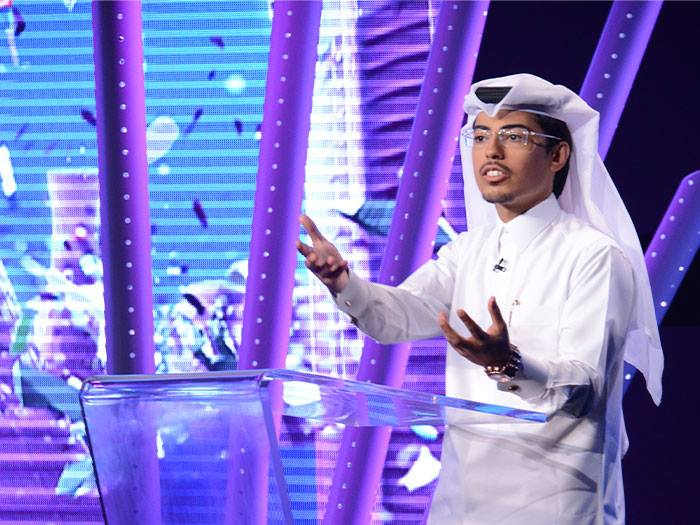 Mohammed Al Housany discussing Taqatech Stars of Science