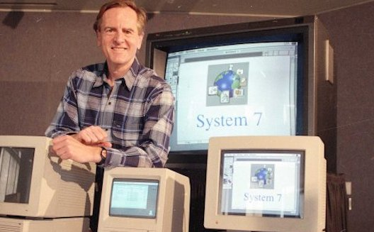 John Sculley with some Apple computers back in the day