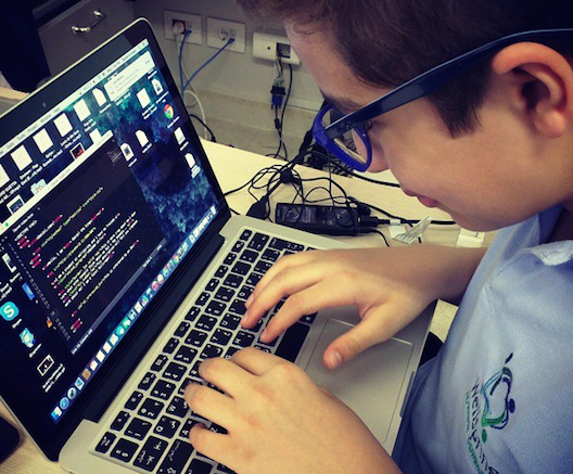 A youngster at Lebanon's Teens Who Code