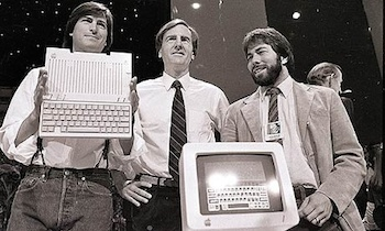 Steve Jobs, John Sculley and Steve Wozniack with the Apple llc in 1984