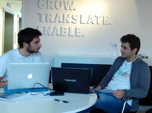 Robert Harfouche à droite et un stagiaire libanais, Emile Karam