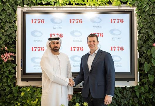 Evan Burfield and His Excellency Mohammed Abdullah Al Gergawi, Minister of Cabinet Affairs and future and vice chairman and managing director of Dubai Future Foundation