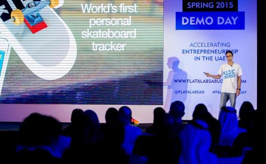 Skateblock pitching at Flat6Labs Abu Dhabi's Demoday